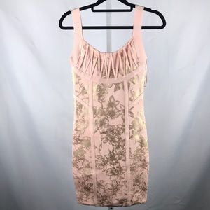 Guess Floral Bodycon Cocktail Dress Light Pink S